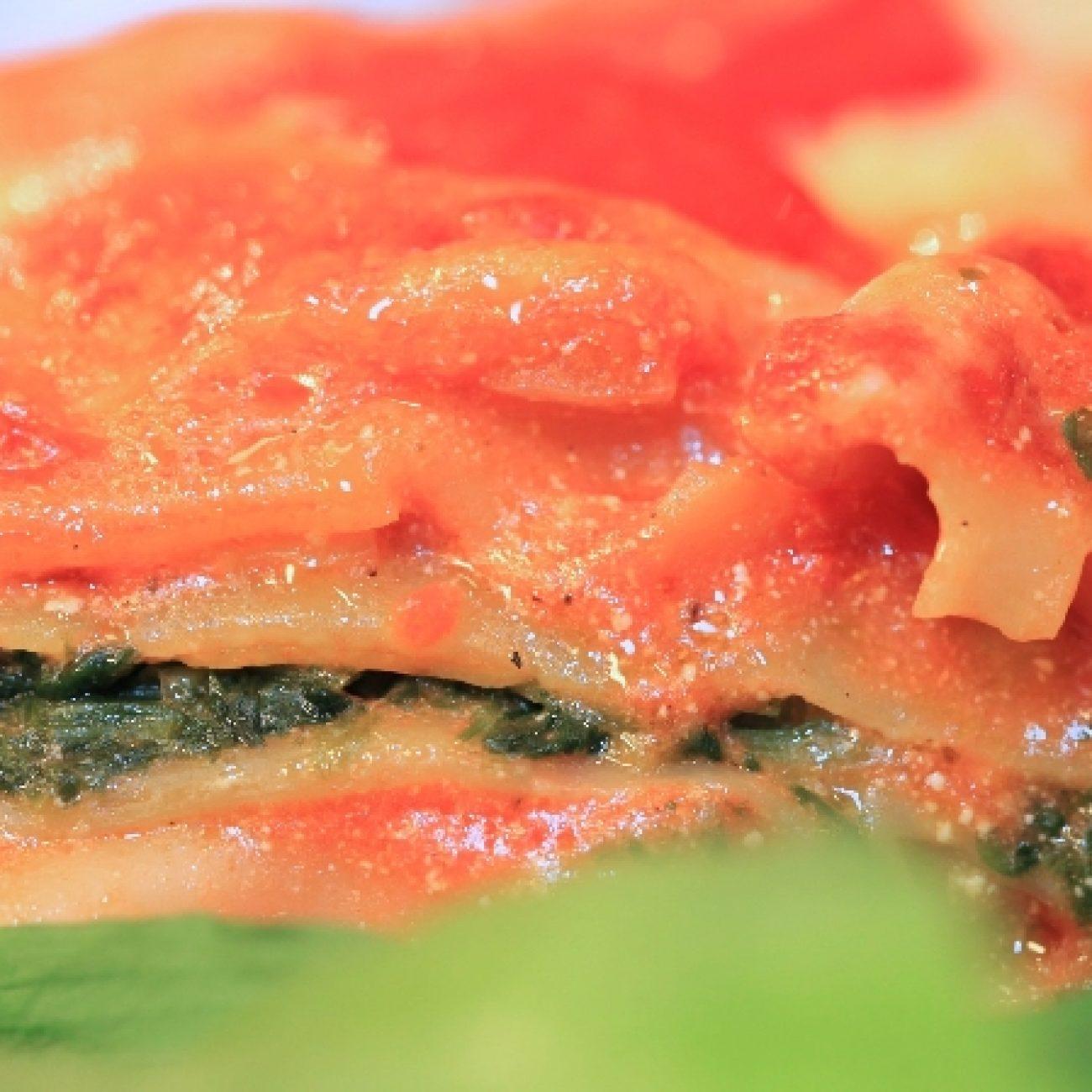 Spenótos medvehagymás lasagne